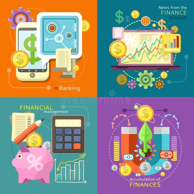 Mbanking, Financiënmarkt, Beheer stock illustratie