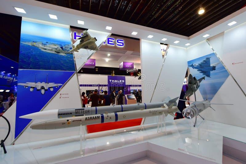 MBDA showcasing их ракетные комплексы на Сингапуре Airshow стоковая фотография