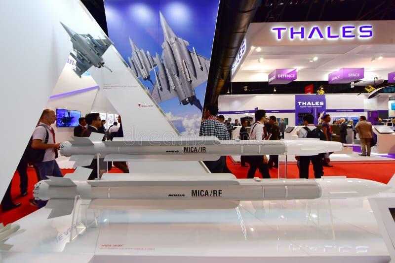 MBDA showcasing их ракетные комплексы на Сингапуре Airshow стоковое фото rf