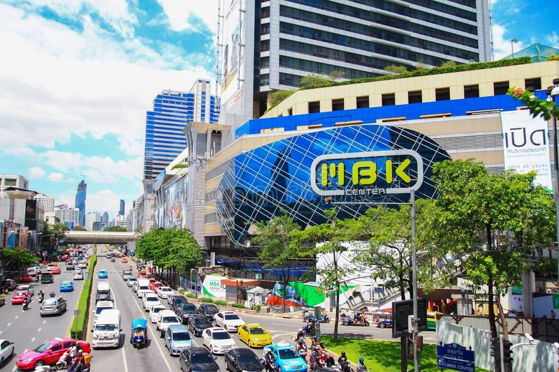 MBK Center, shopping mall in Bangkok. MBK Center, also known as Mahboonkrong , is a large shopping mall in Bangkok, Thailand. At eight stories high, the center stock photo