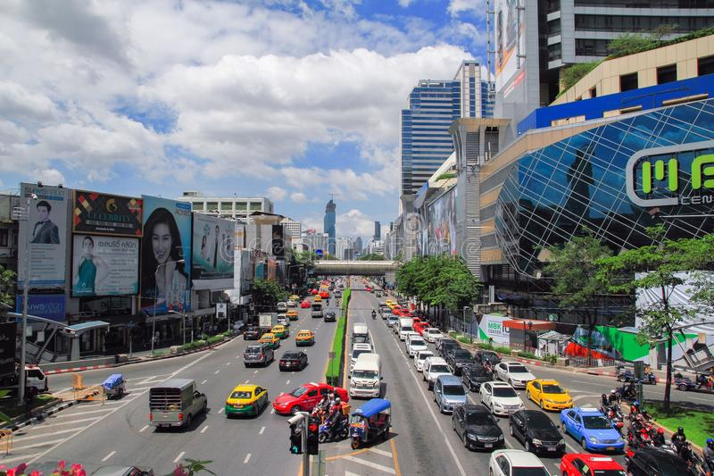 MBK Center, shopping mall in Bangkok, cityscape. MBK Center, also known as Mahboonkrong , is a large shopping mall in Bangkok, Thailand. At eight stories high royalty free stock photos