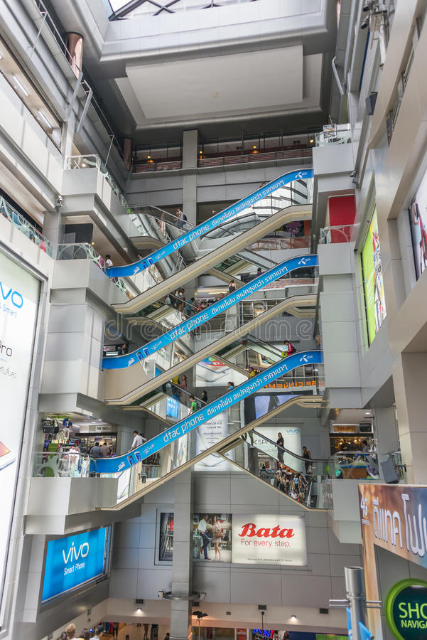 MBK Centre, Bangkok. People at the escalators of the MBK shopping center in Bangkok royalty free stock images
