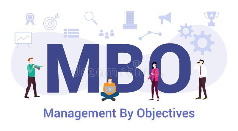 Mbo-beheer op basis van een concept met grote woorden of tekst en teammensen met een moderne, vlakke stijl - vector stock illustratie