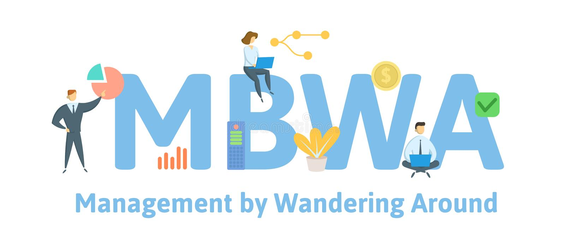 MBWA, Beheer door rond Te wandelen Concept met mensen, brieven en pictogrammen Vlakke vectorillustratie ge?soleerde stock illustratie