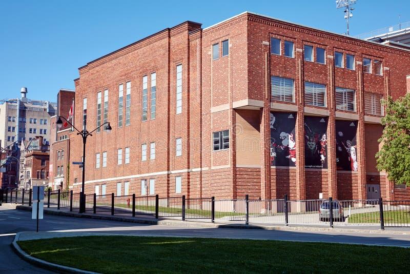 Mc鳃大学体育红砖大厦在蒙特利尔,魁北克,加拿大野营 库存图片