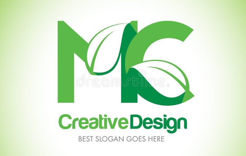 MC绿色叶子书信设计商标 Eco生物叶子信件象Illus 皇族释放例证