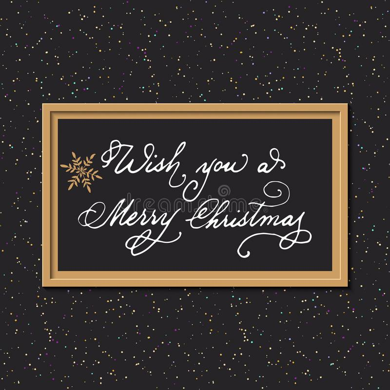 Christmas background with hand drawn words wish you a merry christmas in a frame. design for gift cards, print, presents. Vector christmas background with hand royalty free illustration