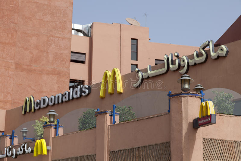 Mc Donalds restaurant in Marrakech Marokko stock afbeelding