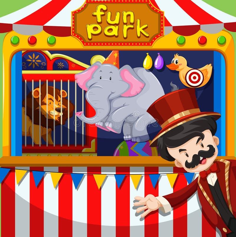 MC et spectacle d'animaux au cirque illustration stock