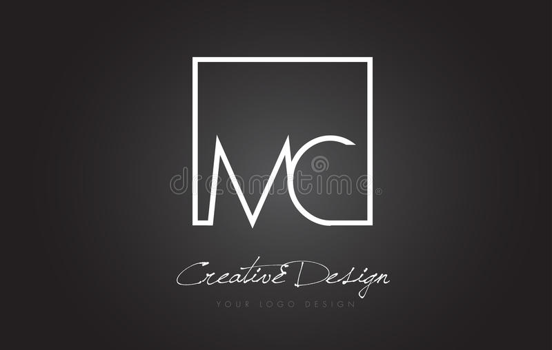 MC Square Frame Letter Logo Design with Black and White Colors. royalty free illustration
