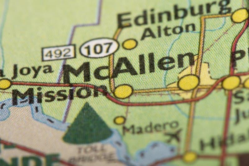 McAllen, Τέξας στο χάρτη στοκ εικόνες