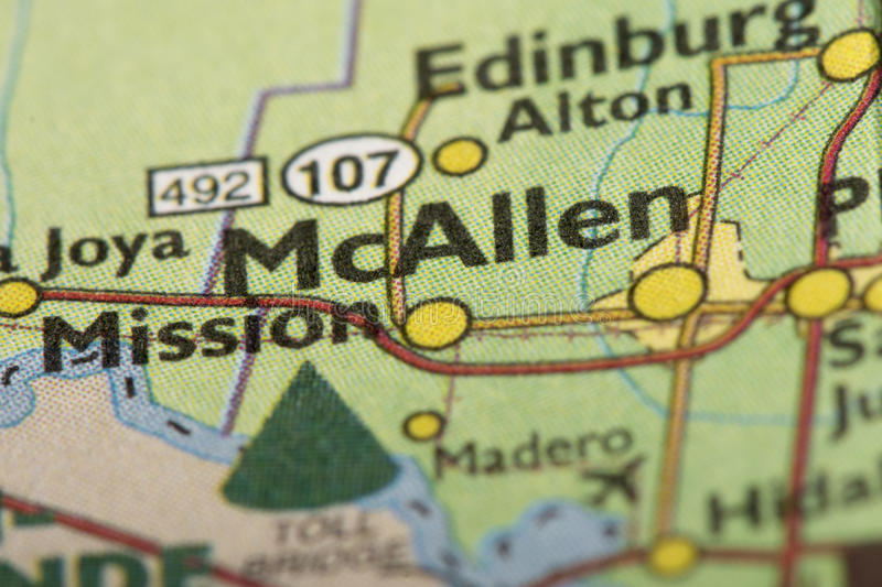 McAllen, Texas no mapa foto de stock