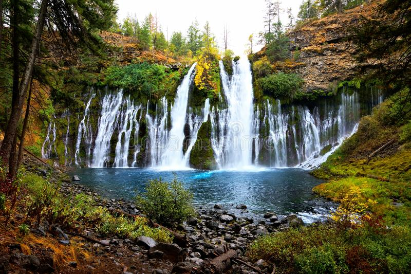 McArthur-Burney Falls, northern California during autumn, USA. Picturesque McArthur-Burney Falls in northern California during autumn, USA royalty free stock images