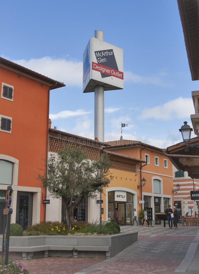 McArthurGlen Designer Outlet Barberino in Italy. People walk along McArthurGlen Designer Outlet Barberino shops situated in 30 minutes from Florence stock images
