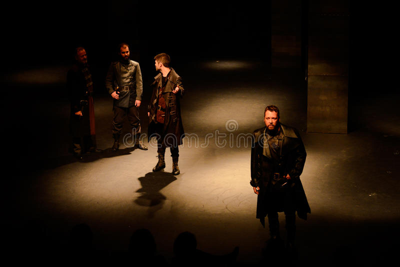 McBeth Drama Play, Shakespeare - Actors on Stage, Theater Interior. Tragedy theather play McBeth by William Shakespeare, staged at Teatro Experimental de Cascais stock images