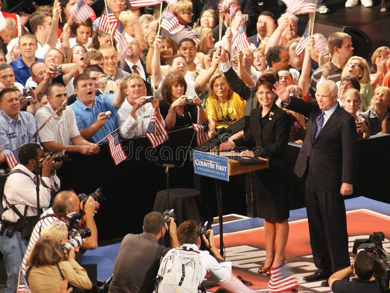 McCain introduce Palin como vice presidente Pick fotografía de archivo libre de regalías