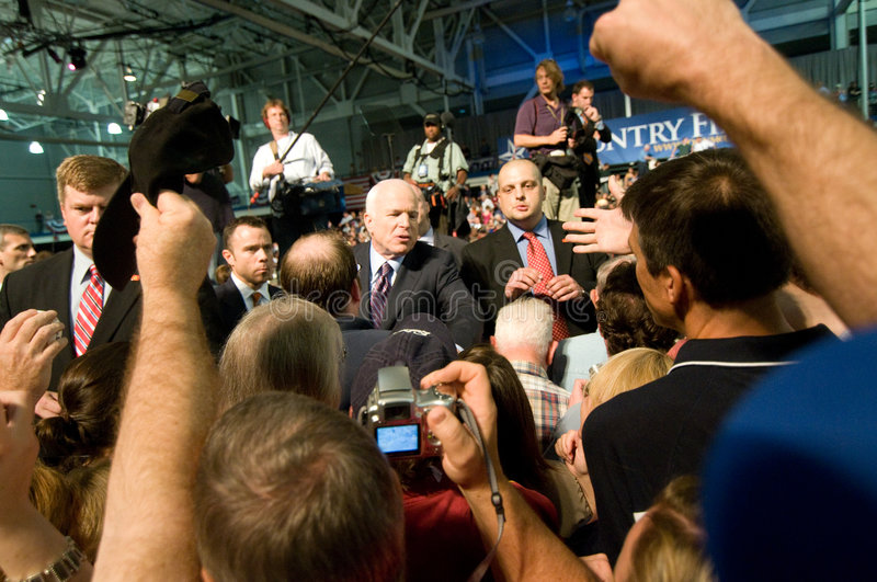McCain with Supporters stock images
