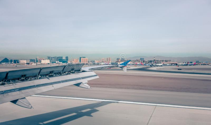 Mccarran airport and las vegas skyline in nevada desert stock photography