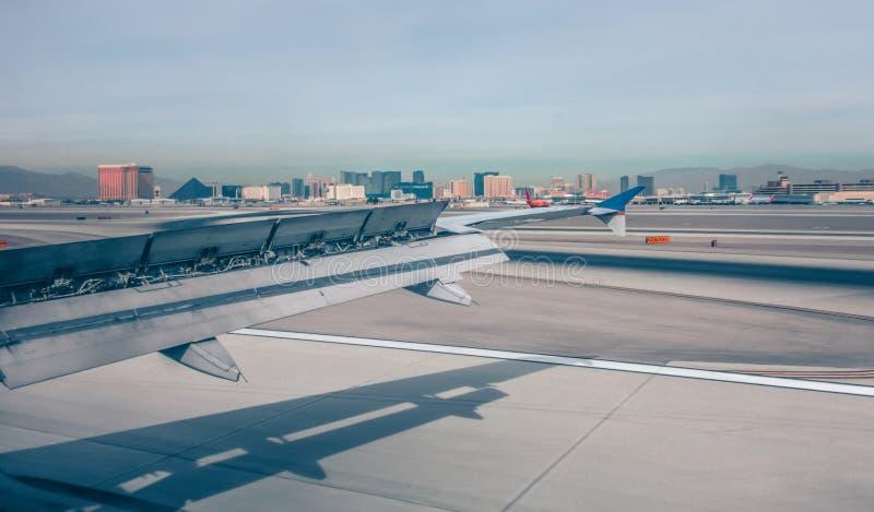 Mccarran airport and las vegas skyline in nevada desert stock photo