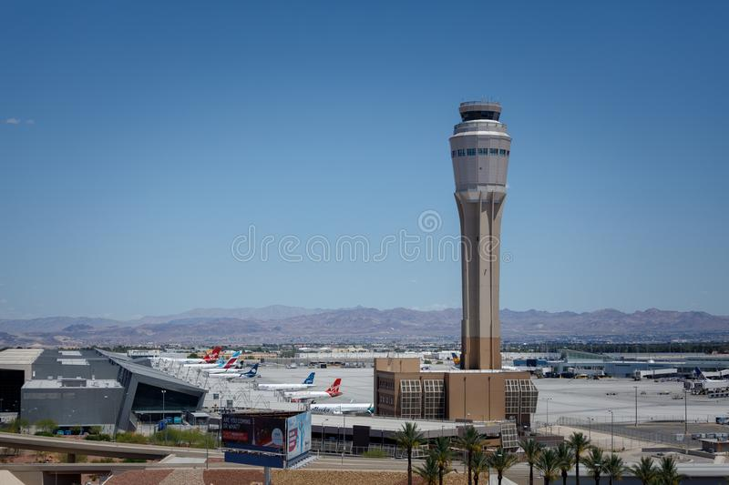 McCarran International Airport (LAS), located south of the Las Vegas strip, is the main airport in Nevada royalty free stock image