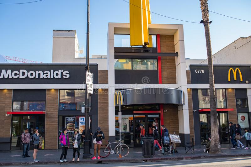McdDonald`s on Hollywood Blvd. stock images