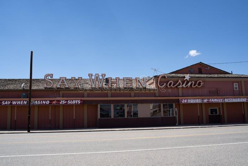 McDermitt, Nevada - 13 de julio de 2019: Exterior de la opinión cuando casino y restaurante de la familia Localizado en el estado fotografía de archivo