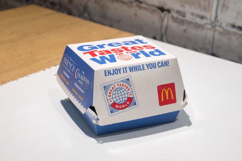 McDonald's grote puinhoop van de broodjesdoos van de Wereld stock foto