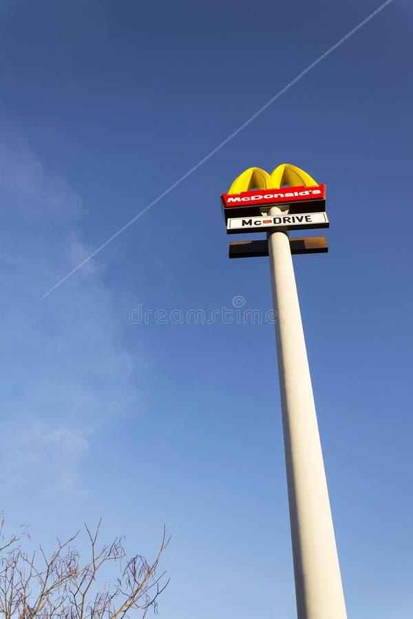 McDonald`s international fast food restaurant company logo royalty free stock photos