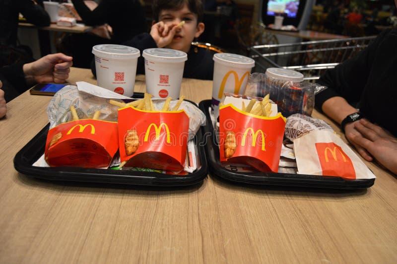 McDonald`s menus keep people happy stock photos