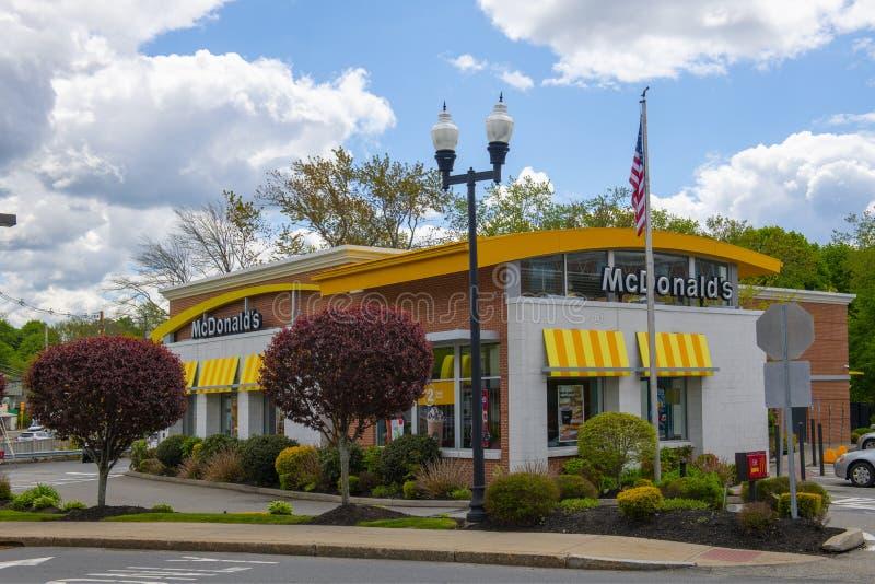 McDonald`s, Maynard, Massachusetts, USA. McDonald`s restaurant on Main Street in Maynard historic town center in summer, Maynard, Massachusetts, USA stock photos