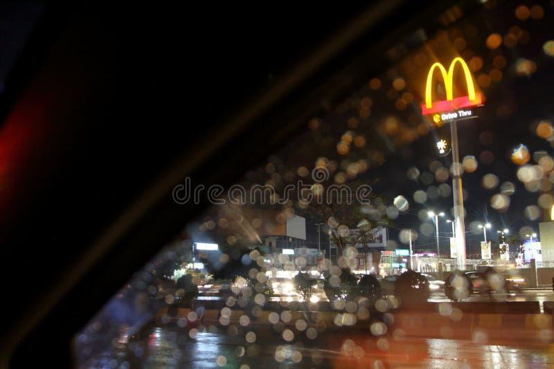 McDonald's sign at night stock photos