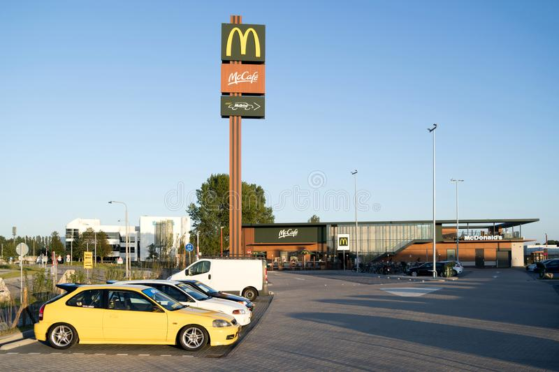 McDonalds fast food restaurant in Oegstgeest, The Netherlands. McDonalds is an American hamburger and fast food restaurant chain, founded in 1940 royalty free stock image