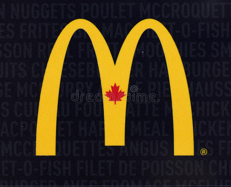 Mcdonalds Canada logo printed on a paper. MONTREAL, CANADA - JULY 30, 2017 : Mcdonalds Canada logo printed on a paper royalty free stock photography