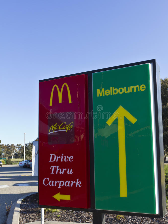 Download McDonalds Drive Through And Carpark Entry Signs Editorial Stock Image - Image of clouds, australia: 20994549