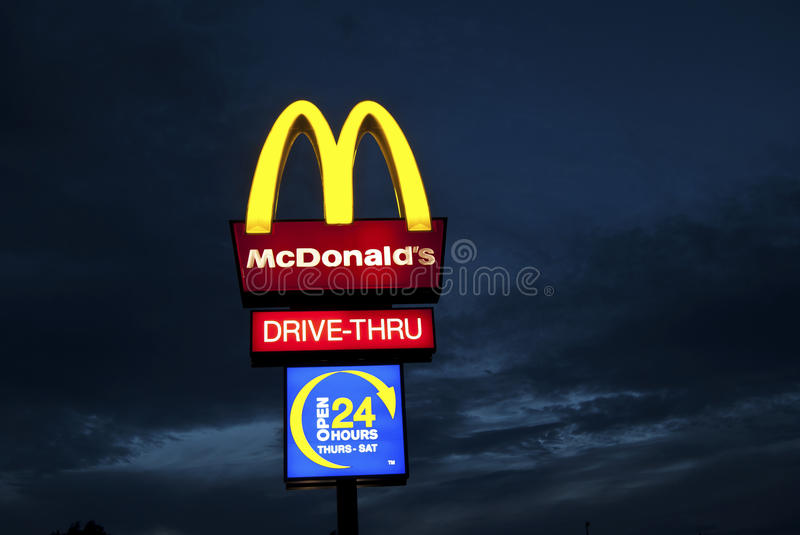 Download McDonalds sign at night editorial stock photo. Image of restaurant - 16170603
