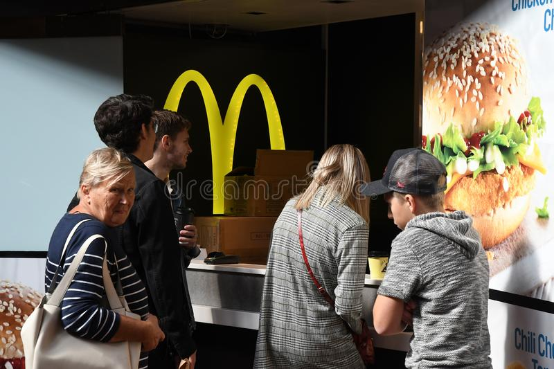 McDONALS FAST FOOD RESTAURANT IN DENMARK. Copenhagen/Denmark 8th.September 2018._McDonalds fast food restaurant in Copenhagen, Denmark . Photo.Francis Joseph royalty free stock photography