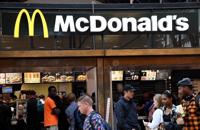 McDONALS FAST FOOD RESTAURANT DENMARK. Copenhagen/Denmark 8th.September 2018._McDonalds fast food restaurant in Copenhagen, Denmark . Photo.Francis Joseph Dean stock photos