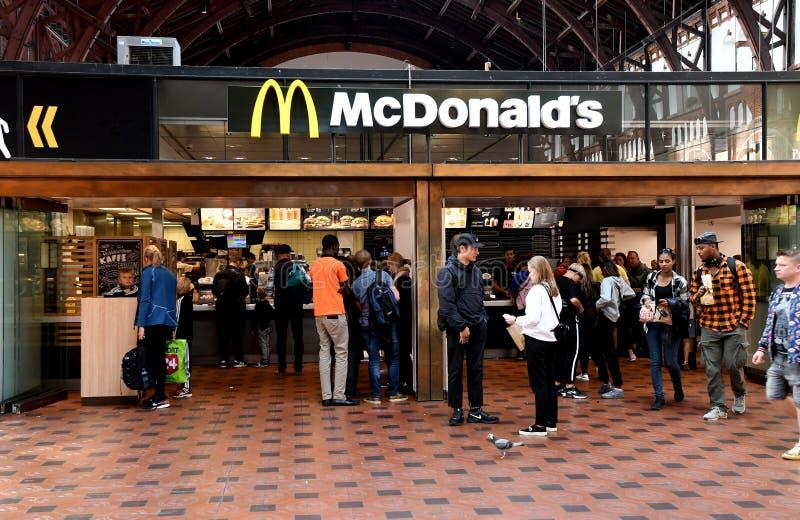 McDONALS FAST FOOD RESTAURANT DENMARK. Copenhagen/Denmark 8th.September 2018._McDonalds fast food restaurant in Copenhagen, Denmark . Photo.Francis Joseph Dean royalty free stock images