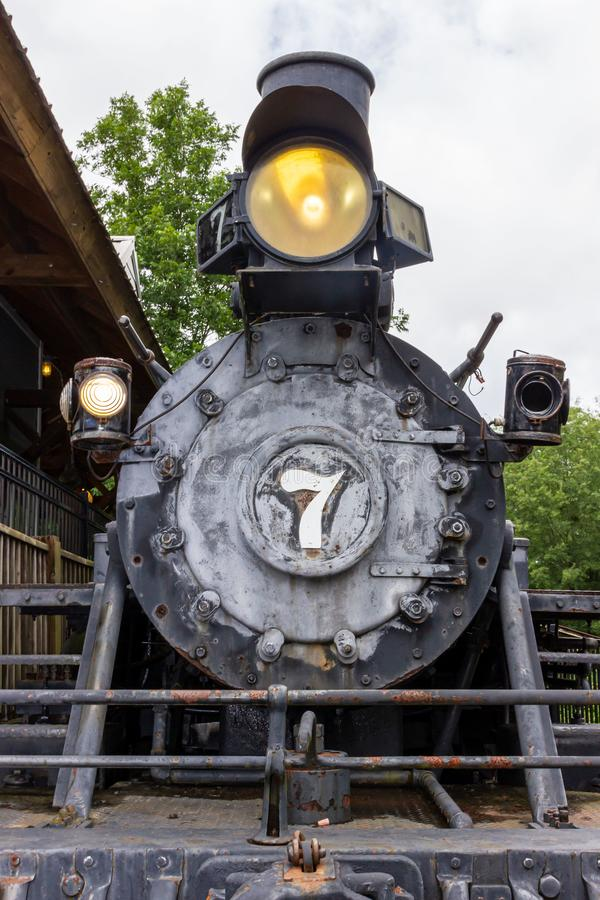 An H.K. Porter Steam Engine stands on static display at Heritage Village in Heritage Park in McDonough, GA. McDonough, Georgia / USA - June 9, 2019: An H.K royalty free stock image