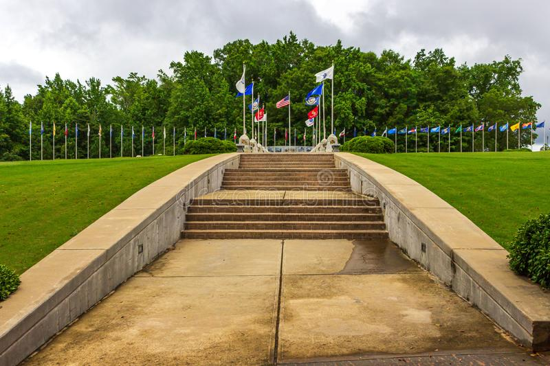 Veteran`s Wall of Honor in McDonough, GA. McDonough, Georgia / USA - June 9, 2019: Steps lead to the Veteran`s Wall of Honor in Heritage Park royalty free stock photos
