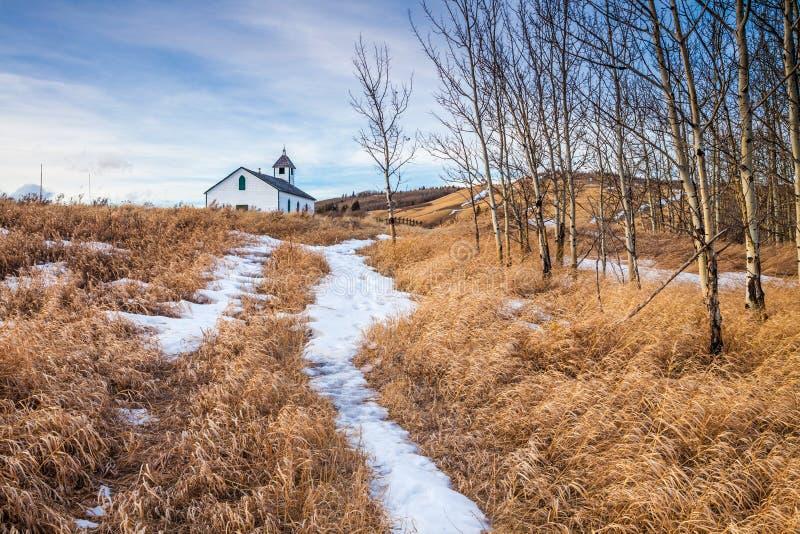 McDougal kościół w preriach południowy Alberta zdjęcie royalty free