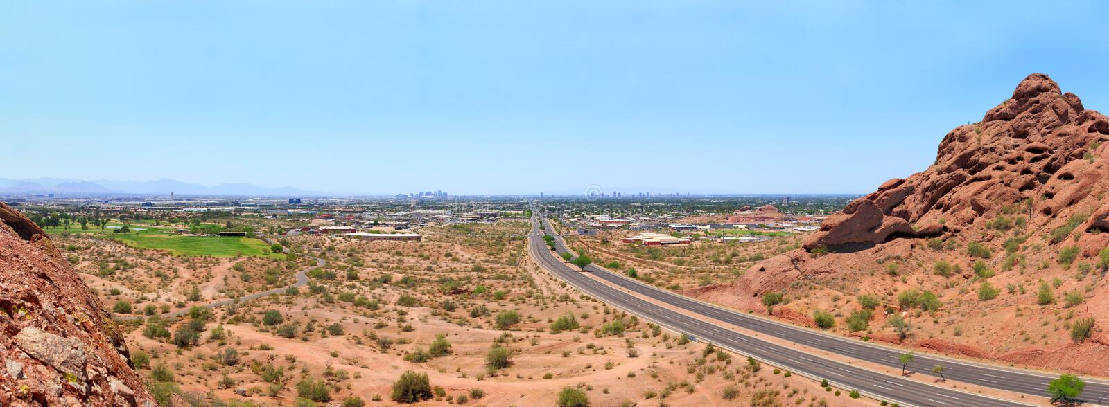 McDowell Road to Phoenix, AZ. McDowell Road to Phoenix downtown from Papago park, Arizona royalty free stock photos