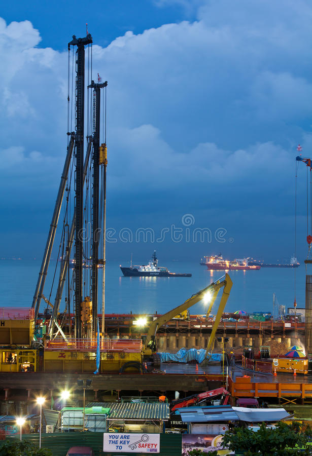 MCE podmorska tunelowa budowa Singapur obrazy royalty free