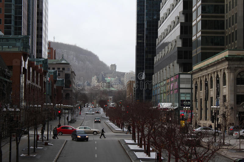 McGill College Avenue, Downtown Montreal, Quebec,. Looking north on Mcgill College Avenue in downtown Montreal on a winter day. Office towers, retail shops and stock photo