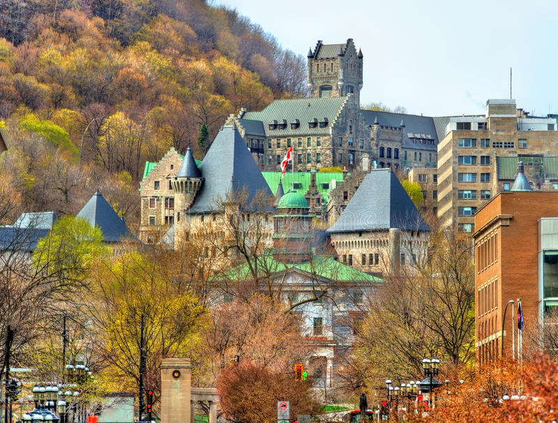 McGill University, McTavish reservoir and Royal Victoria Hospital in Montreal - Canada. McGill University, McTavish reservoir and Royal Victoria Hospital in stock image