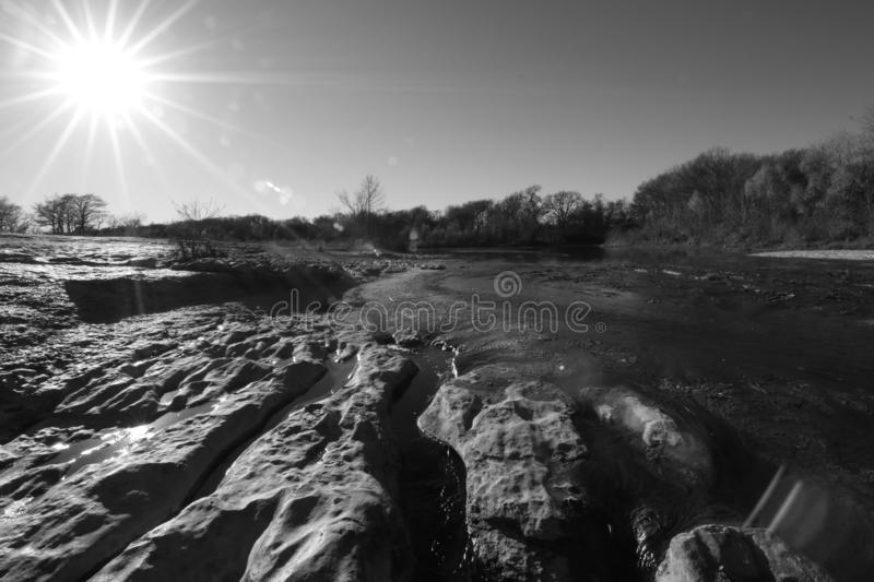 McKinney Falls State Park. In black and white stock photography