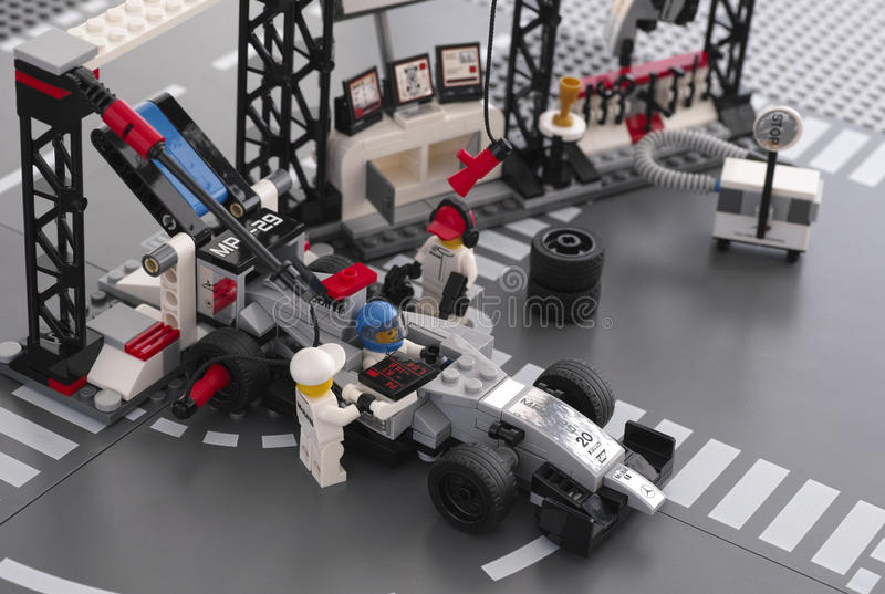 McLaren Mercedes Pit Stop by LEGO Speed Champions royalty free stock photos