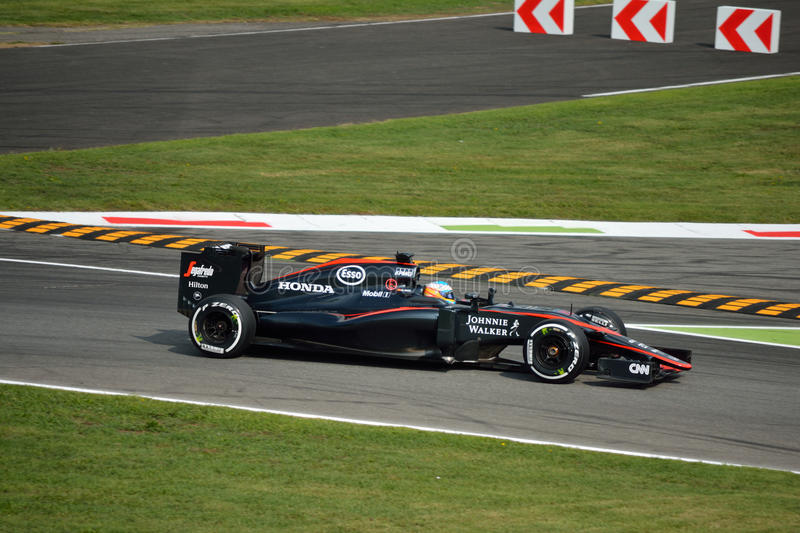 McLaren MP4-30 F1 driven by Fernando Alonso at Monza royalty free stock photos