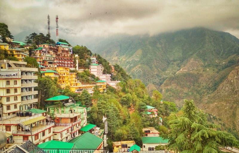 Mcleodganj, Dharamshala, Himachal Pradesh. View of Hill station in Himachal Pradesh called Mcleodganj, Dharamshala during monsoons stock image