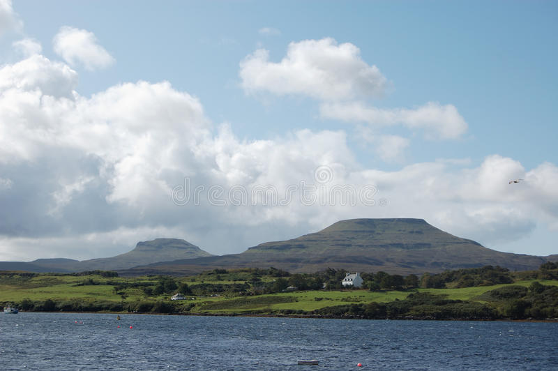 Mcleods Tables from Dunvegan. Mcleods Tables two flat topped hills on Skye viewed from Dunvegan stock image